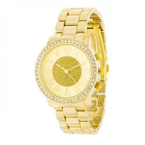 Roman Numeral Goldtone Watch With Crystals (pack of 1 ea)