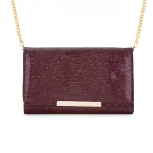 Laney Burgundy Textured Faux Leather Clutch With Gold Chain Strap (pack of 1 ea)