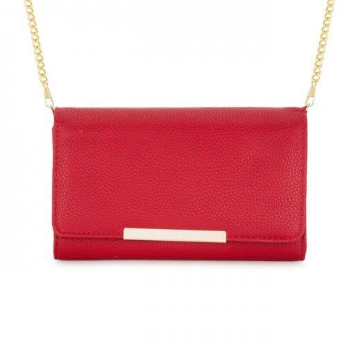Laney Red Pebbled Faux Leather Clutch With Gold Chain Strap (pack of 1 ea)