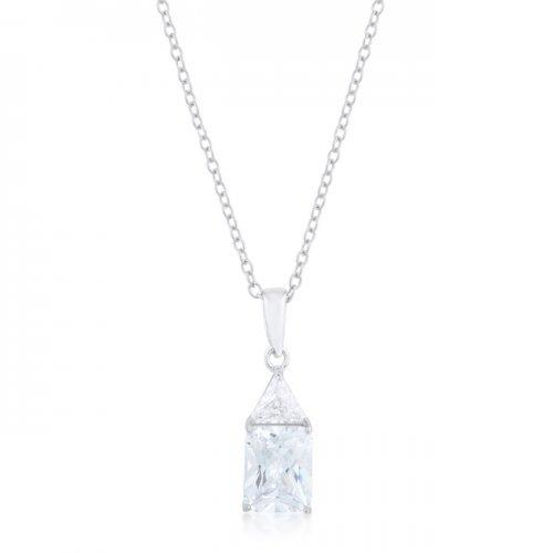 Classic Cubic Zirconia Sterling Silver Drop Necklace (pack of 1 ea)
