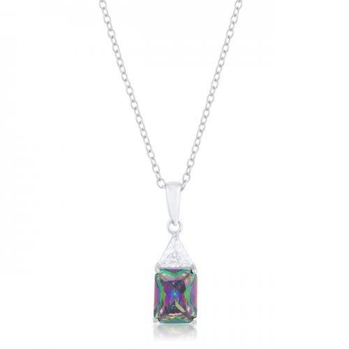 Classic Mystic Cubic Zirconia Sterling Silver Drop Necklace (pack of 1 ea)