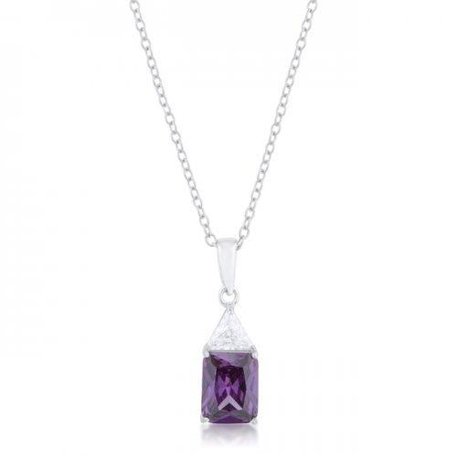 Classic Amethyst Cubic Zirconia Sterling Silver Drop Necklace (pack of 1 ea)