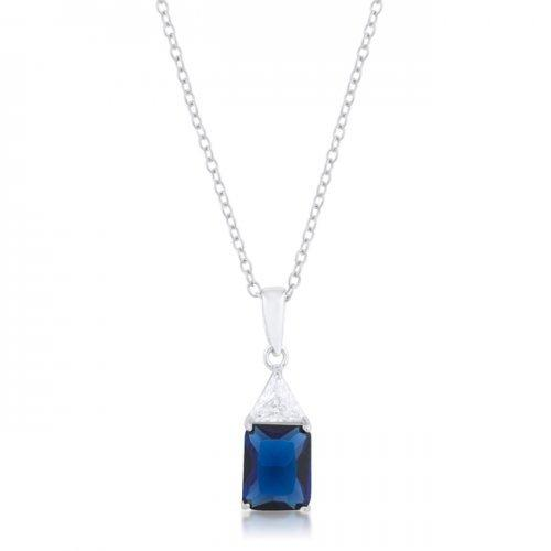 Classic Sapphire Cubic Zirconia Sterling Silver Drop Necklace (pack of 1 ea)