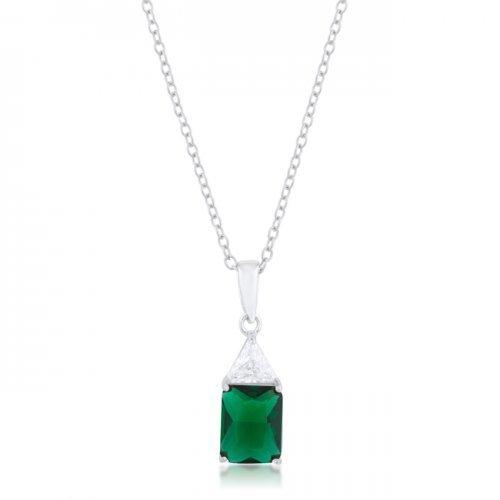 Classic Emerald Cubic Zirconia Sterling Silver Drop Necklace (pack of 1 ea)