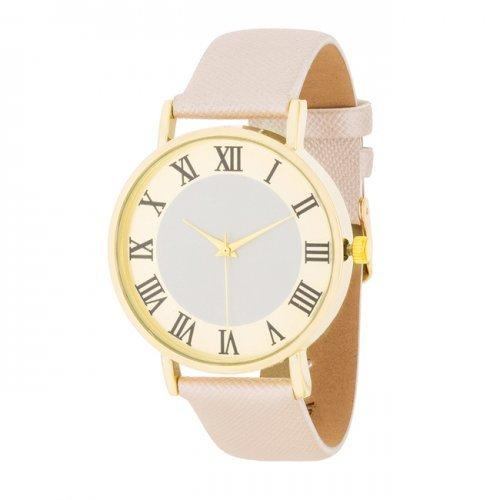 Gold Classic Watch With Champagne Leather Strap (pack of 1 ea)