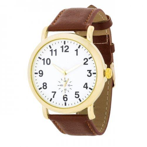 Gold Classic Watch With Brown Leather Strap (pack of 1 ea)