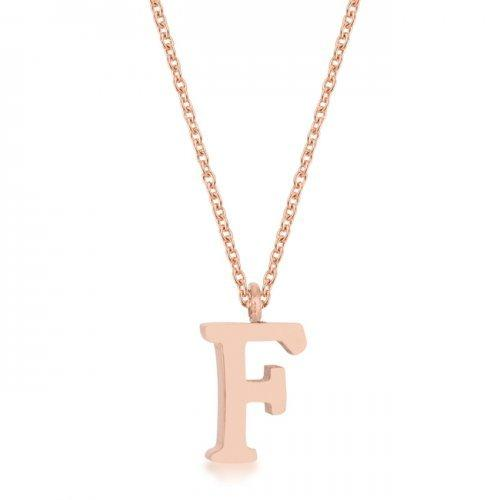 Elaina Rose Gold Stainless Steel F Initial Necklace (pack of 1 ea)