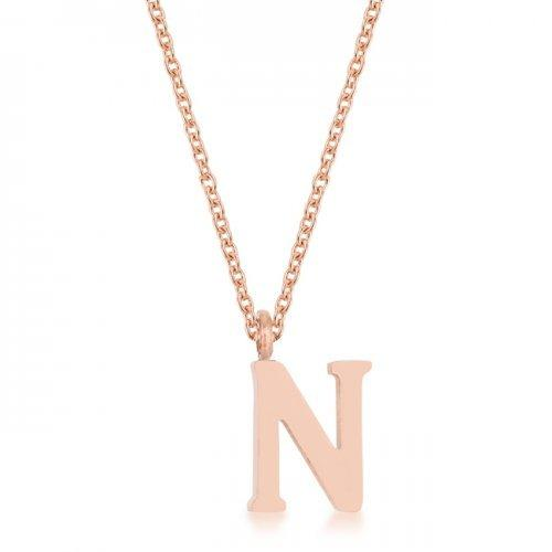 Elaina Rose Gold Stainless Steel N Initial Necklace (pack of 1 ea)