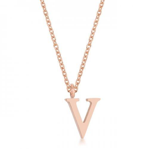 Elaina Rose Gold Stainless Steel V Initial Necklace (pack of 1 ea)