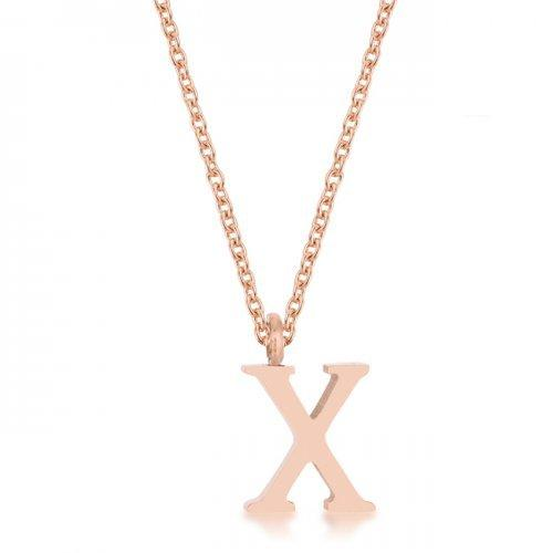 Elaina Rose Gold Stainless Steel X Initial Necklace (pack of 1 ea)