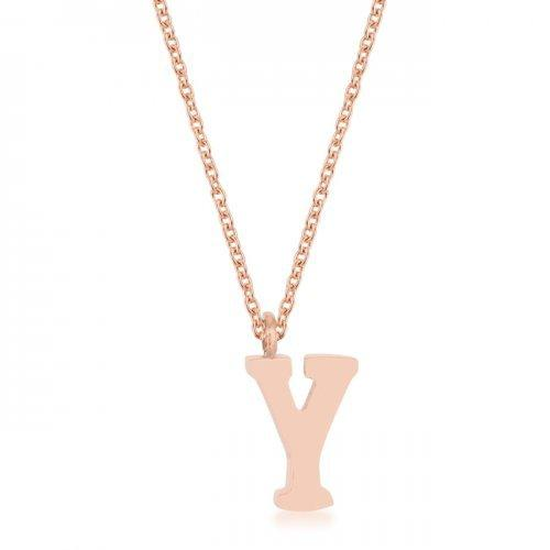 Elaina Rose Gold Stainless Steel Y Initial Necklace (pack of 1 ea)