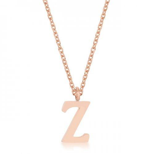 Elaina Rose Gold Stainless Steel Z Initial Necklace (pack of 1 ea)