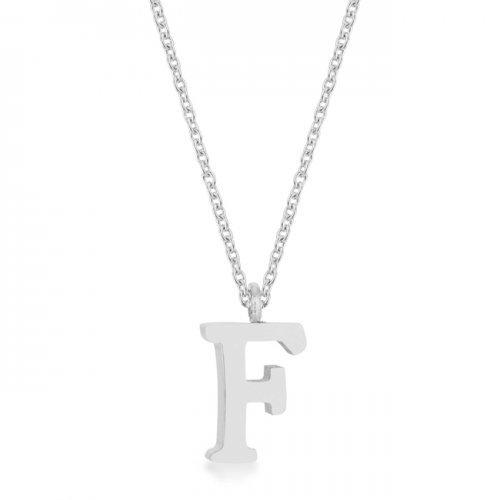 Elaina Rhodium Stainless Steel F Initial Necklace (pack of 1 ea)