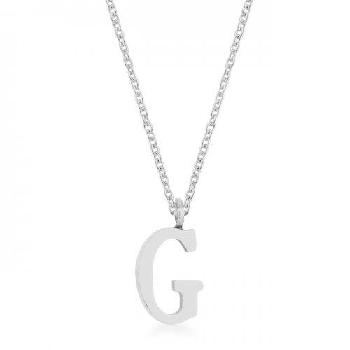 Elaina Rhodium Stainless Steel G Initial Necklace (pack of 1 ea)