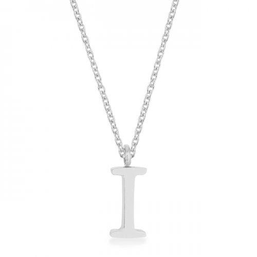 Elaina Rhodium Stainless Steel I Initial Necklace (pack of 1 ea)