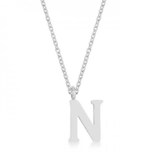 Elaina Rhodium Stainless Steel N Initial Necklace (pack of 1 ea)