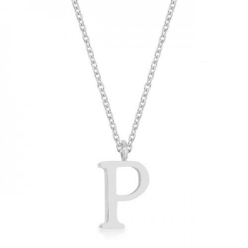 Elaina Rhodium Stainless Steel P Initial Necklace (pack of 1 ea)
