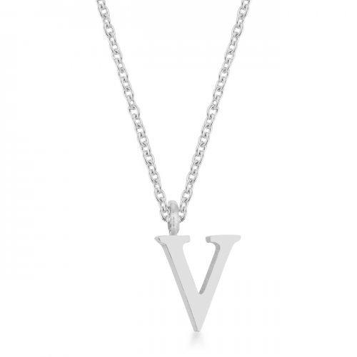 Elaina Rhodium Stainless Steel V Initial Necklace (pack of 1 ea)