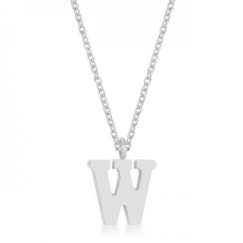 Elaina Rhodium Stainless Steel W Initial Necklace (pack of 1 ea)