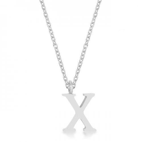 Elaina Rhodium Stainless Steel X Initial Necklace (pack of 1 ea)