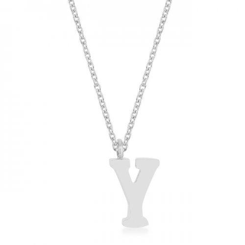 Elaina Rhodium Stainless Steel Y Initial Necklace (pack of 1 ea)