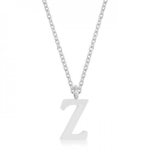 Elaina Rhodium Stainless Steel Z Initial Necklace (pack of 1 ea)