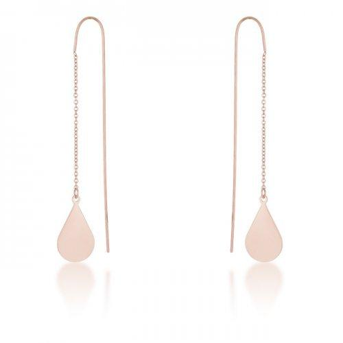 Chloe Rose Gold Stainless Steel Teardrop Threaded Drop Earrings (pack of 1 ea)