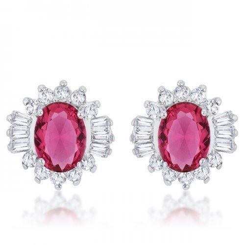 Chrisalee 3.3ct Ruby Cz Rhodium Classic Stud Earrings (pack of 1 ea)