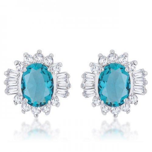 Chrisalee 3.3ct Aqua Cz Rhodium Classic Stud Earrings (pack of 1 ea)