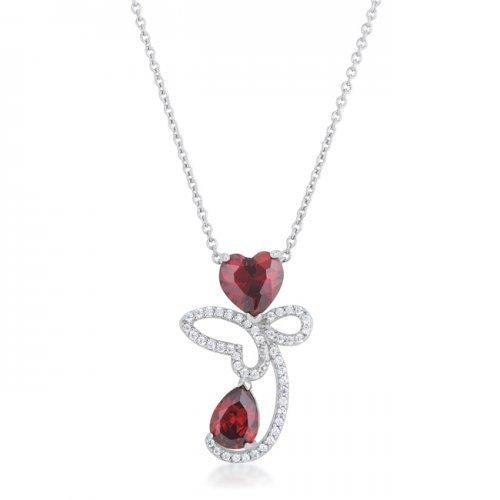 Clarise 3.2ct Garnet Cz Rhodium Abstract Heart Drop Necklace (pack of 1 ea)