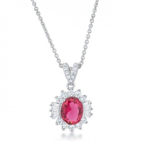 Chrisalee 3.2ct Ruby Cz Rhodium Classic Drop Necklace (pack of 1 ea)