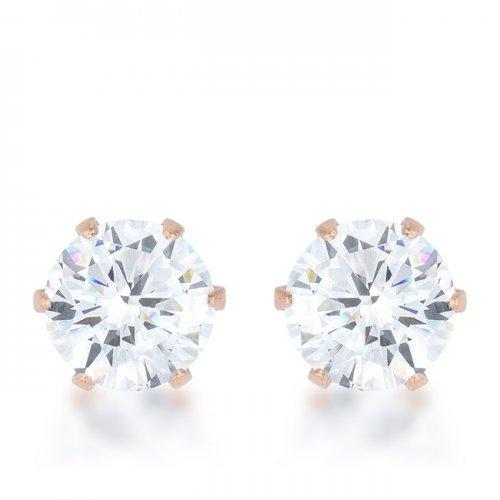 Reign 3.4ct Cz Rose Gold Stainless Steel Stud Earrings (pack of 1 ea)