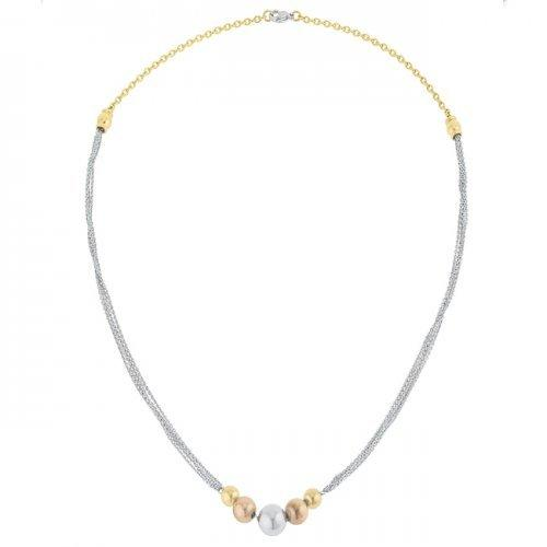 Bella Tri-tone Stainless Steel Layered Ball Statement Necklace (pack of 1 ea)