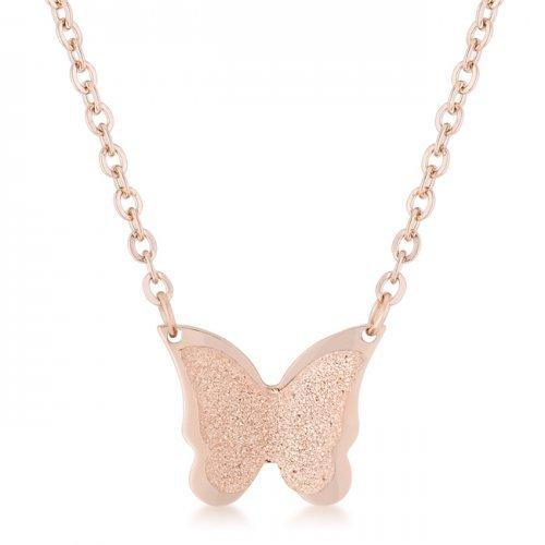 Breanne Rose Gold Stainless Steel Rose Gold Butterfly Necklace (pack of 1 ea)