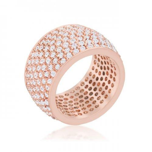 Wide Pave Cubic Zirconia Rose Gold Band Ring (size: 08) (pack of 1 ea)