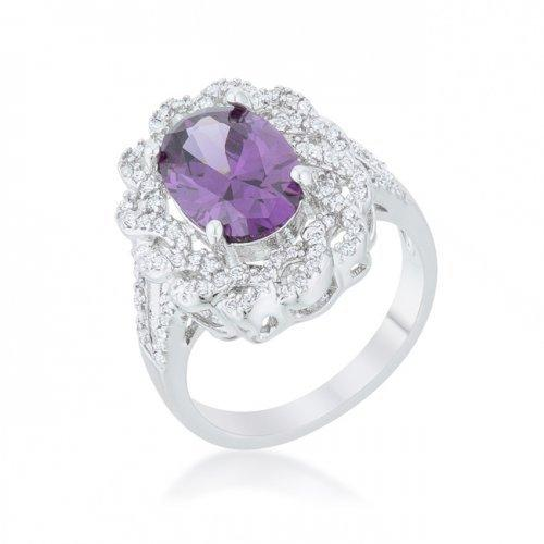 Amethyst Oval Classic Ring (size: 08) (pack of 1 ea)
