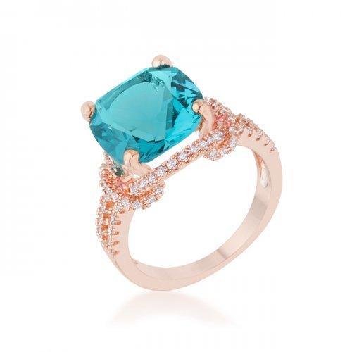 Charlene 6.2ct Aqua Cz Rose Gold Classic Statement Ring (size: 10) (pack of 1 ea)