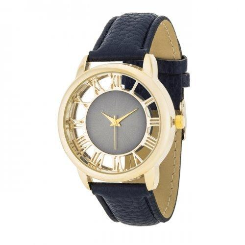 Cecelia Gold Boyfriend Watch With Navy Blue Leather Band (pack of 1 ea)