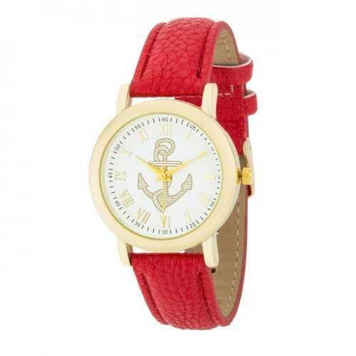 Natalie Gold Nautical Watch With Red Leather Band (pack of 1 ea)