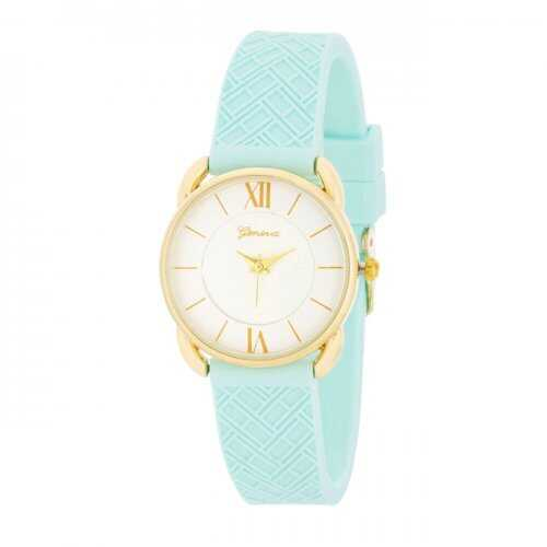 Mina Gold Classic Watch With Mint Rubber Strap (pack of 1 ea)