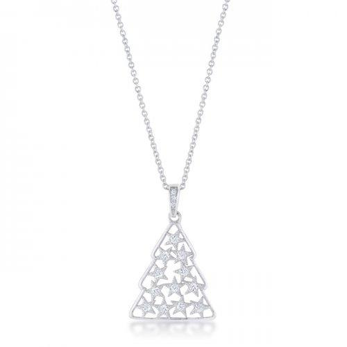 .2 Ct Cz Rhodium Christmas Tree Pave Holiday Pendant (pack of 1 ea)