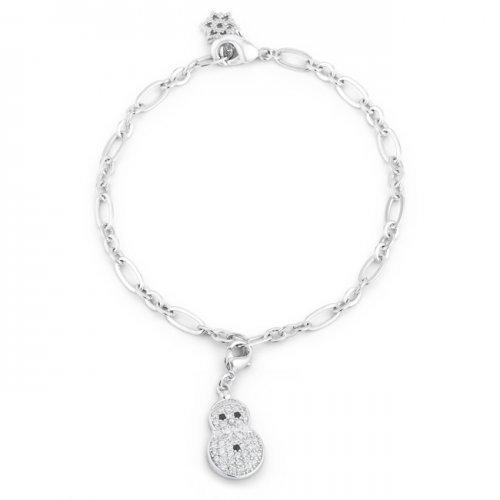 Snowman 0.2ct Cz Rhodium Holiday Charm Bracelet (pack of 1 ea)