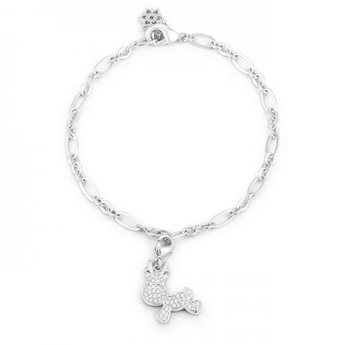 Rudy 0.25ct Cz Rhodium Reindeer Charm Bracelet (pack of 1 ea)