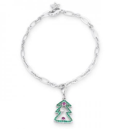 Christmas Tree 0.35ct Cz Rhodium Holiday Charm Bracelet (pack of 1 ea)
