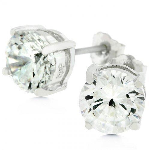 Clear Silver Round Studs 6.25 Earrings (pack of 1 ea)