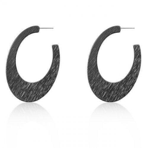 Contemporary Hematite Textured Hoop Earrings (pack of 1 ea)