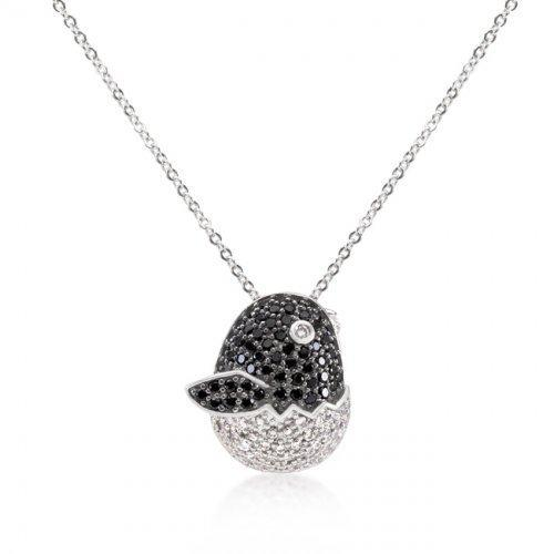 Black And White Cz Baby Bird Pendant (pack of 1 ea)