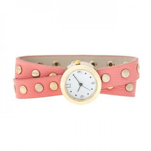 Pink Round Studded Wrap Watch (pack of 1 ea)