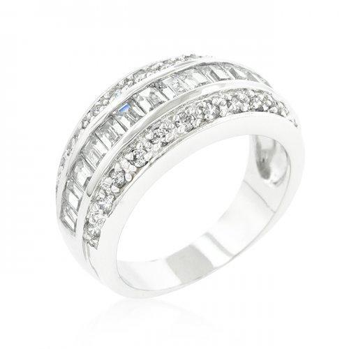 3-row Cubic Zirconia Band (size: 09) (pack of 1 ea)