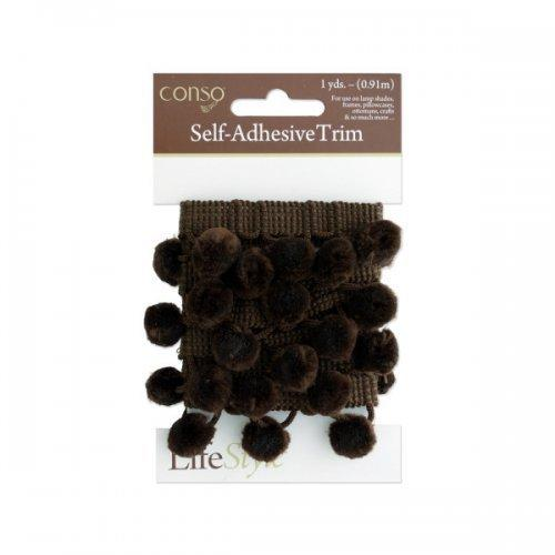 Conso 1 Yard Self Adhesive Brown Trim With Brom Pom Poms (pack of 24)